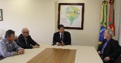 O novo subscretário, Eduardo Jardim Pinto,  acompanhado dos diretores,  Paulo Ricardo Araújo Irmão e Alexandre Husek de Freitas