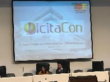 A diretora da Celic, Kethy Helen Bazo, e o assessor técnico do órgão, Paulo Lunardi, estiveram no TCE onde realizaram uma exposição sobre a importância da transparência nas compras públicas
